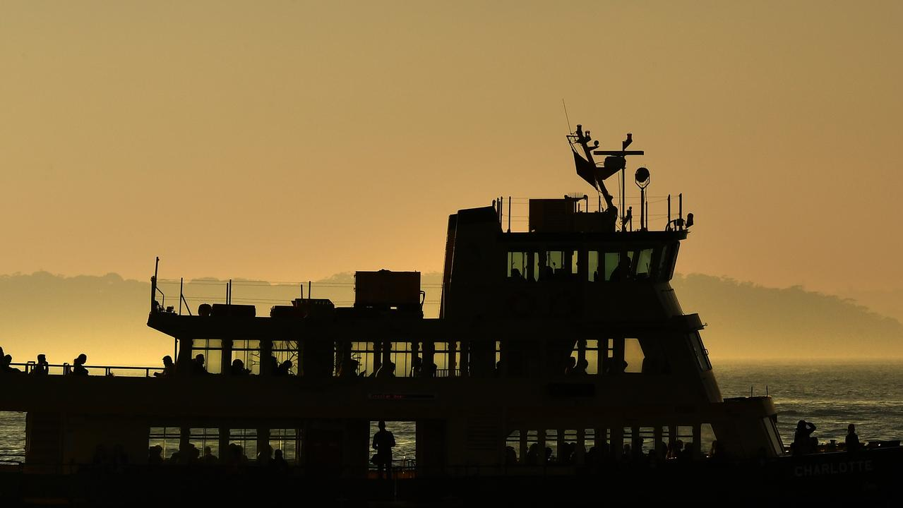 A ferry on Sydney Harbour on Friday. Picture: Dean Lewins