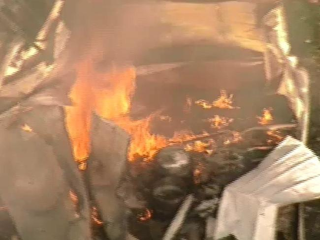 Gas cylinders have exploded at a storage facility in Drysdale, near Geelong. Picture: Channel 9