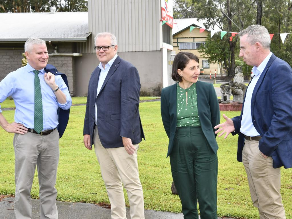 Scott Morrison unveiled an upgrade to the Pacific Highway, alongside Ms Berejiklian. Picture: Adam Hourigan