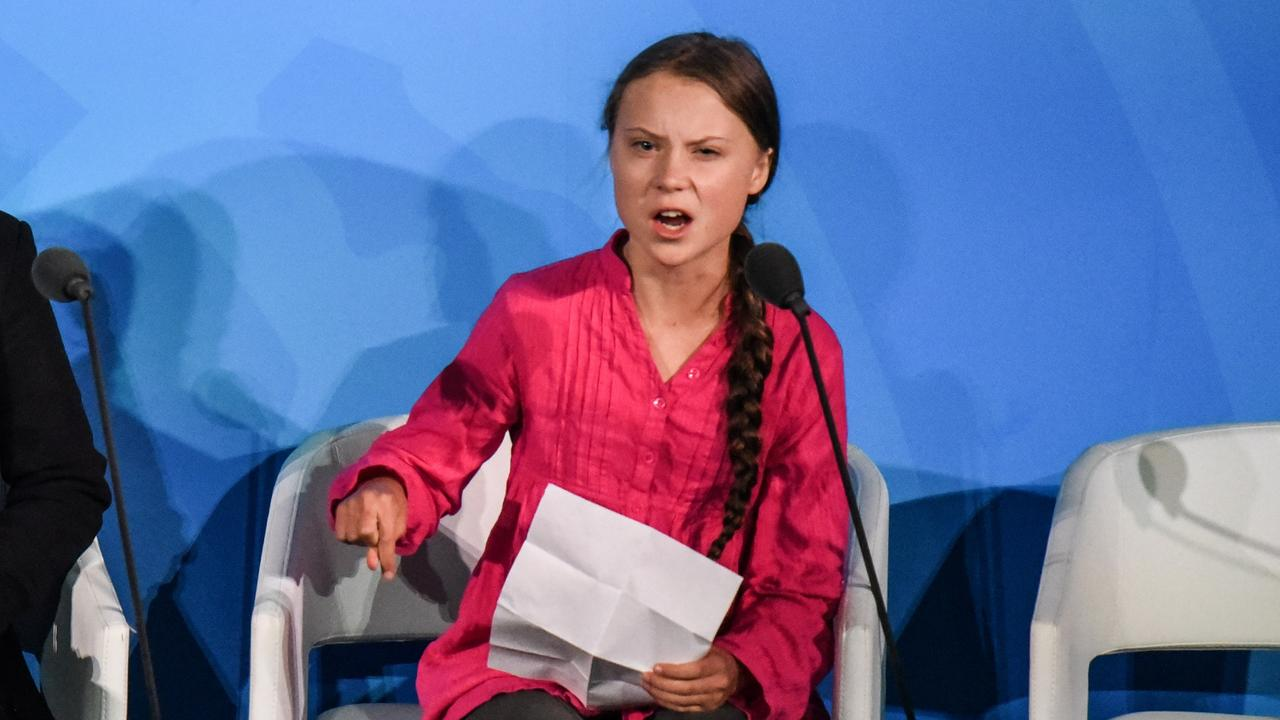 The 16-year-old fought tears throughout her speech. Picture: Stephanie Keith/Getty Images/AFP