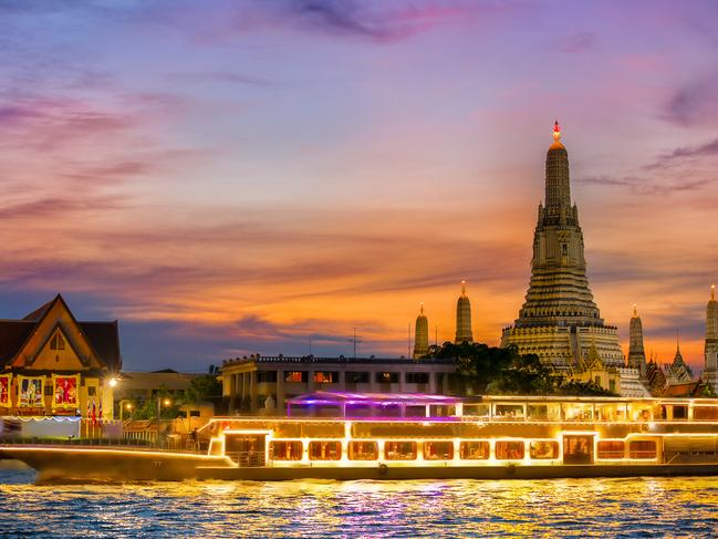 CHAO PHRAYA RIVER CRUISE The shimmering temples are your backdrop as you wine and dine in luxurious surroundings and see Bangkok dazzle at night. Lap up the first-class service as you sail on the Chao Phraya river and get an authentic taste of Thai cuisine on board one of the many dinner cruises the city has to offer. Choose from a converted rice barge or a luxury dinner boat and explore Bangkok from the river in candlelit ambience.