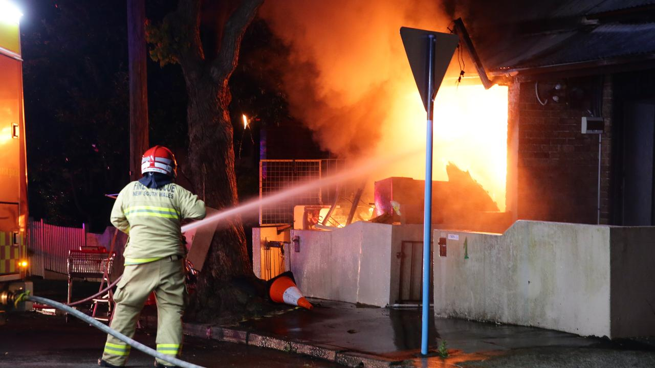 The fire was one of five deliberately lit blazes reported on a single night in the Glebe area. Picture: Bill Hearne