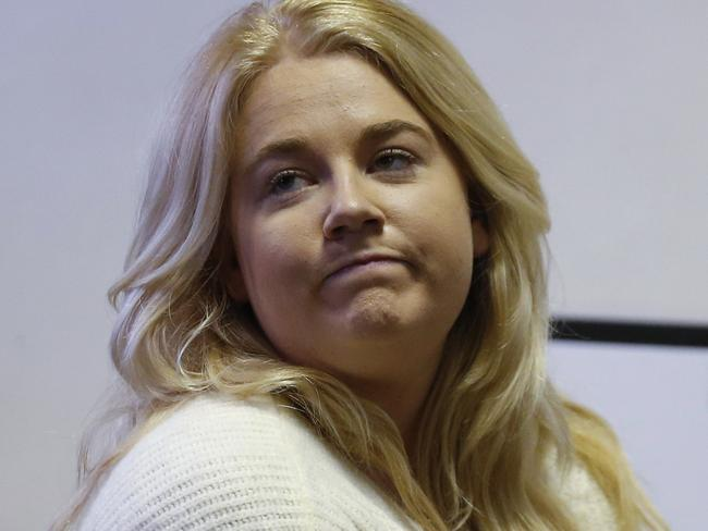 Australian Cassandra Sainsbury attends a court hearing in Bogota, Colombia, Wednesday, Aug. 9, 2017. The 22-year-old was detained April 12 at Bogota's International airport when caught trying to smuggle about 6 kilos of cocaine inside packages of headphones. Picture: AP Photo/Fernando Vergara