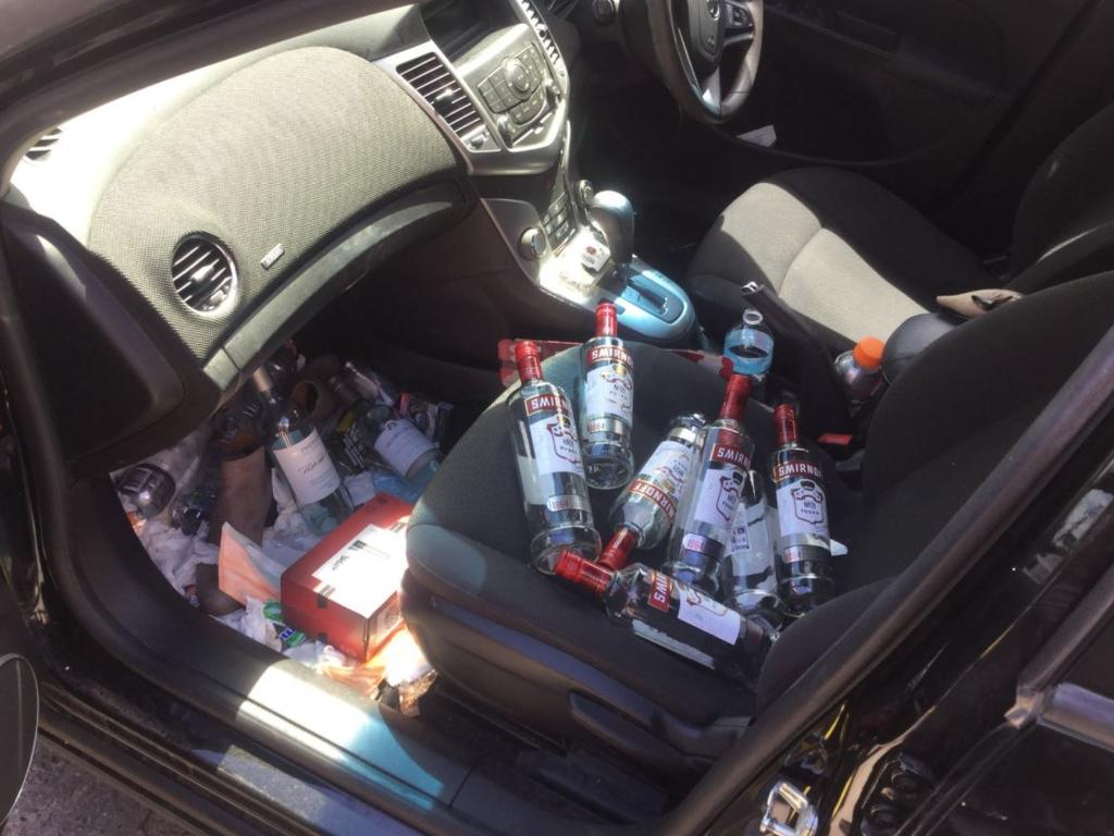 The female driver was found with multiple alcohol bottles in her car. Picture: Glen Eira Bayside Police