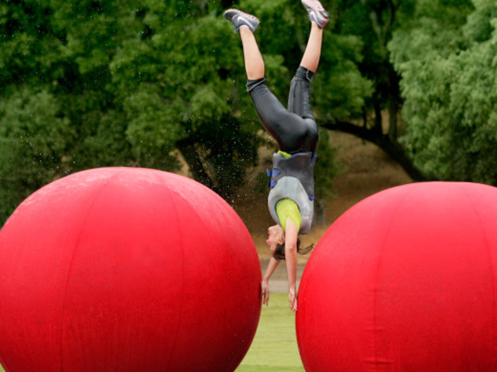 A contestant competes on the reboot of Wipeout. Photo: Jeff Samaripa, New York Post.