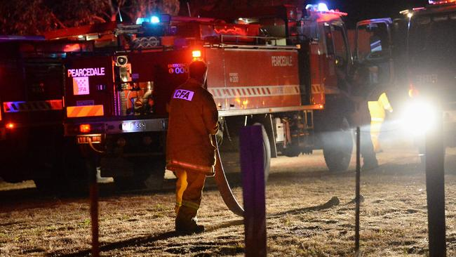 Firefighters have battled a grassfire in Cranbourne. Picture: Lawrence Pinder