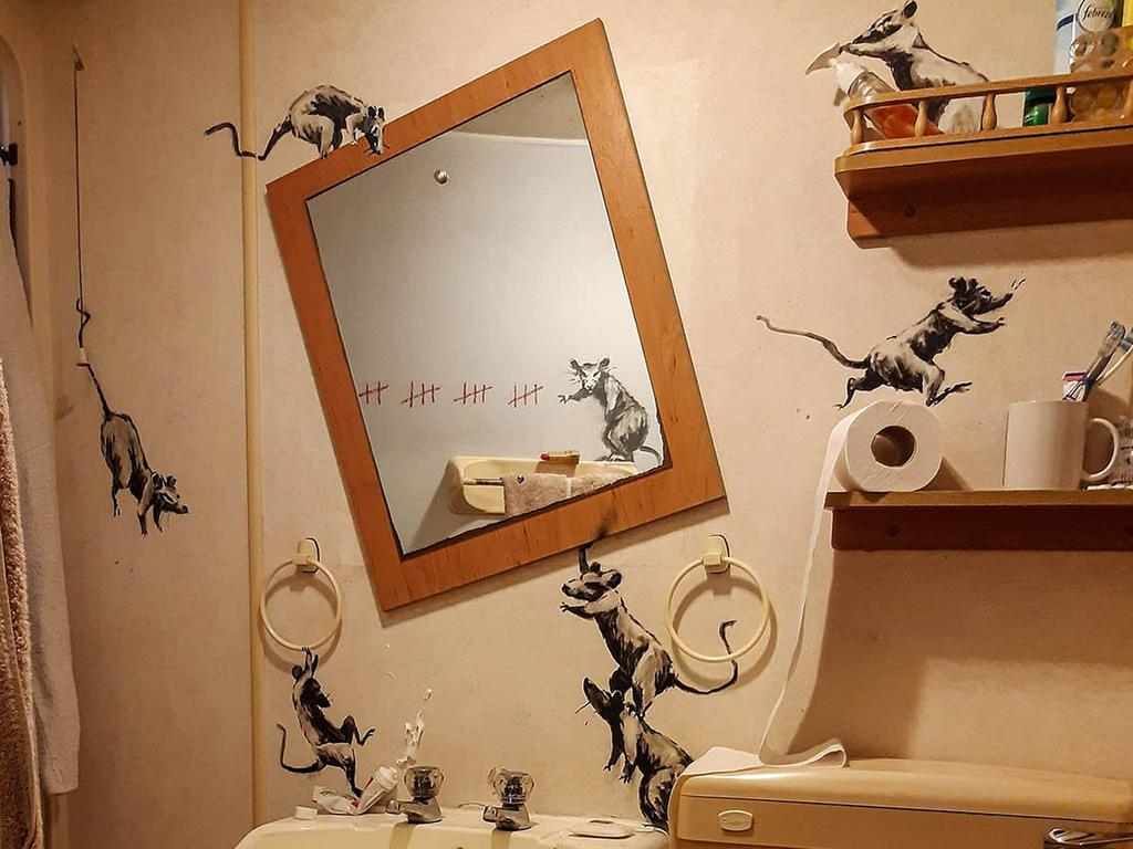 Banksy has revealed a rodent-themed installation inside his own bathroom. Picture: Supplied