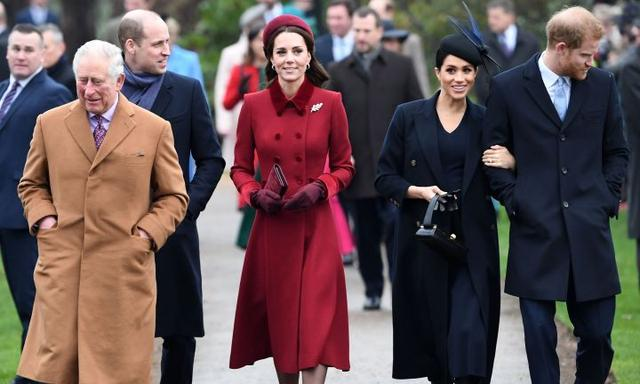 (FILES) In this file photo taken on January 09, 2020 (FILES) In this file photo taken on December 25, 2018, (L-R) Britain's Prince Charles, Prince of Wales, Britain's Prince William, Duke of Cambridge, Britain's Catherine, Duchess of Cambridge, Meghan, Duchess of Sussex and Britain's Prince Harry, Duke of Sussex arrive for the Royal Family's traditional Christmas Day service at St Mary Magdalene Church in Sandringham, Norfolk, eastern England. - Queen Elizabeth II will host a showdown meeting with Prince Harry on January 13, 2020 in an attempt to solve the crisis triggered by his bombshell announcement that he and wife Meghan were stepping back from the royal frontline. (Photo by Paul ELLIS / AFP)