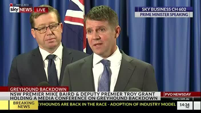 Mike Baird announces greyhound backflip