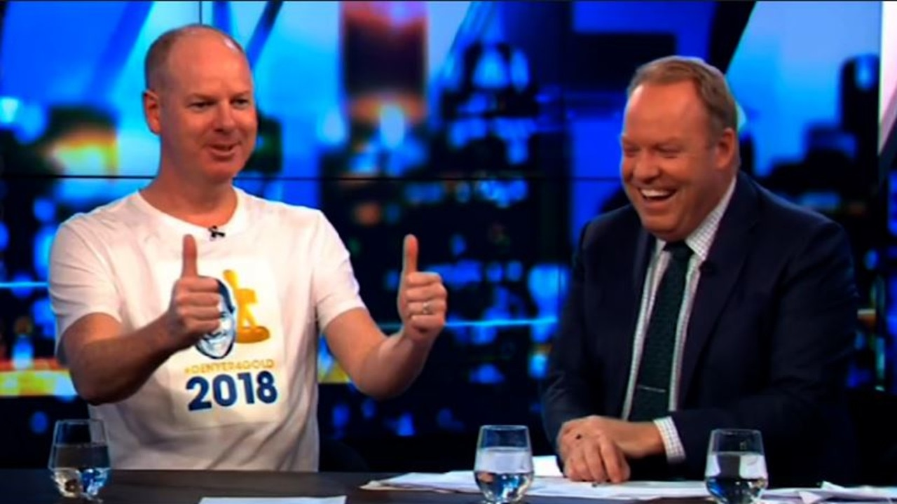 Tom Gleeson refused to leave The Project desk on Thursday night. Picture: Channel 10