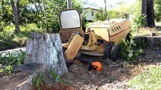 The scene of a stump grinding accident at a Mount Tamborine property. Picture: Mike Batterham