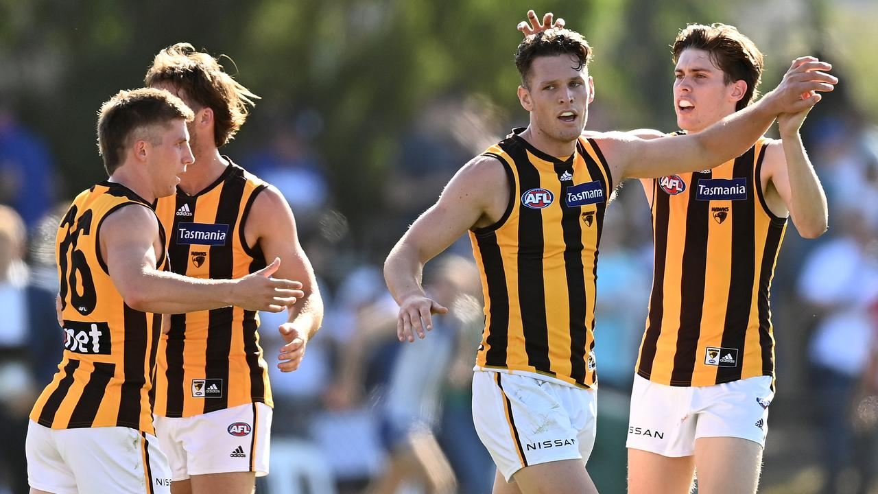 Jacob Koschitzke had three goals in the first half for Hawthorn against North Melbourne. (Photo by Quinn Rooney/Getty Images)