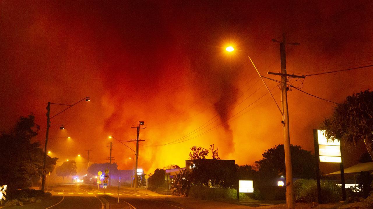 Bushfire approaching Peregian Beach township. Photo Lachie Millard