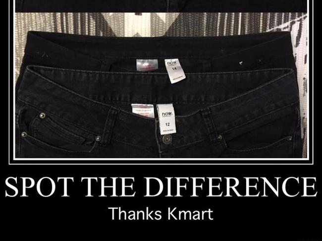 A side-by-side comparison of Kmart jeans.
