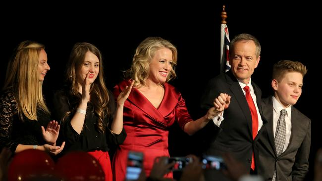 Bill Shorten was joined on election night by his wife Chloe and children Rupert and Georgette and cousin Alexandra (left). Picture: Stuart McEvoy for The Australian
