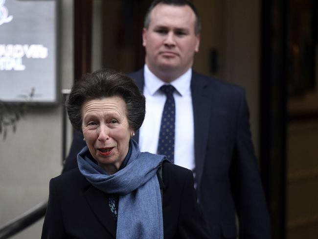 Britain's Princess Anne leaves the King Edward VII Hospital in London. Picture: AP