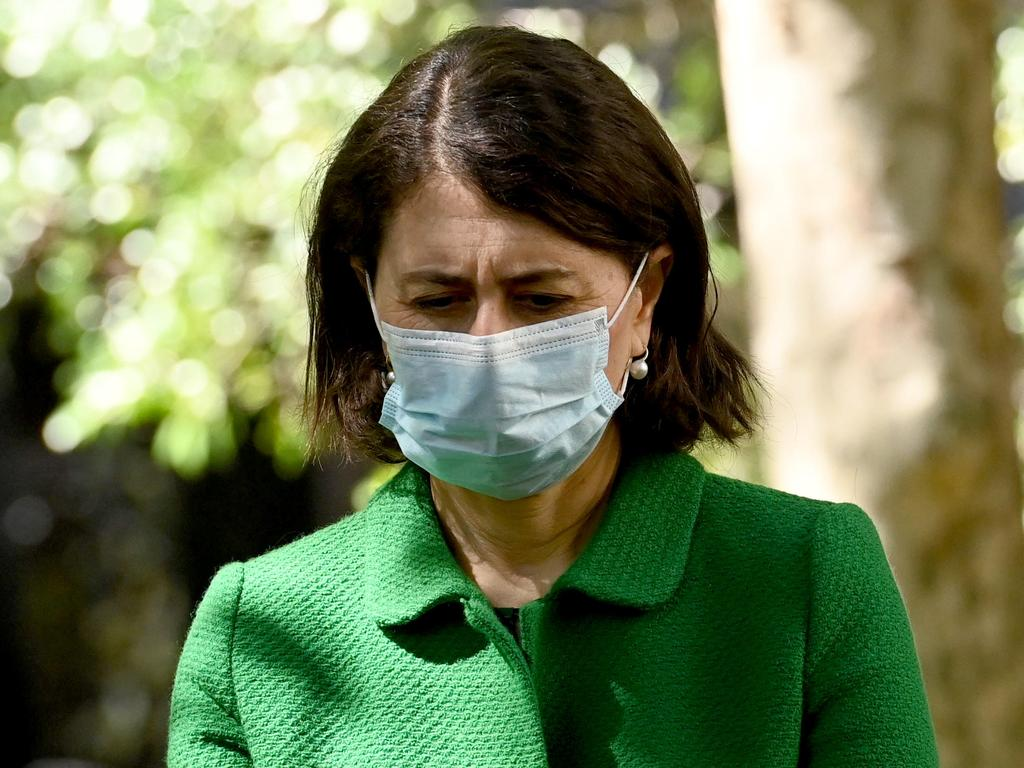 NSW Premier Gladys Berejiklian has committed to begin reopening when the state hits its 70 per cent double dose target. Picture: NCA NewsWire/Jeremy Piper