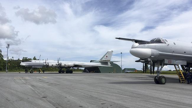 Russian Tu-95 strategic bombers on the ground at Indonesia's Biak Republic, Papua. Picture: Russian Ministryof Defence