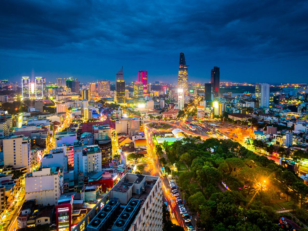 View of the buildings in Ho Chi Minh city or Saigon in Vietnam at night