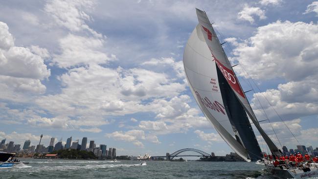 Australian supermaxi yacht Wild Oats XI (R).