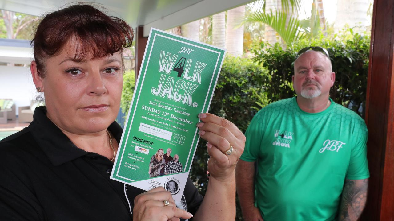 "Brett Beasley and Belinda Beasley at home talking about the "" Walk for Jack"" one year on from their son Jack Beasely's stabbing death in Surfers Paradise. .Picture Glenn Hampson"