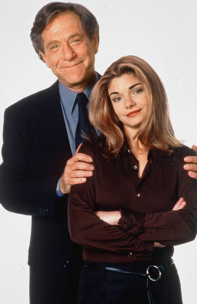 George Segal with his on-screen daughter Laura San Giacomo from Just Shoot Me. Picture: Supplied.