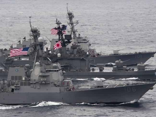 he Japan Maritime Self-Defense Force destroyer JS Kurama leads a formation with the Arleigh-Burke-class guided-missile destroyers USS Gridley and USS Stockdale. Such displays of unity have become increasingly common throughout southeast Asia. Picture: US Navy