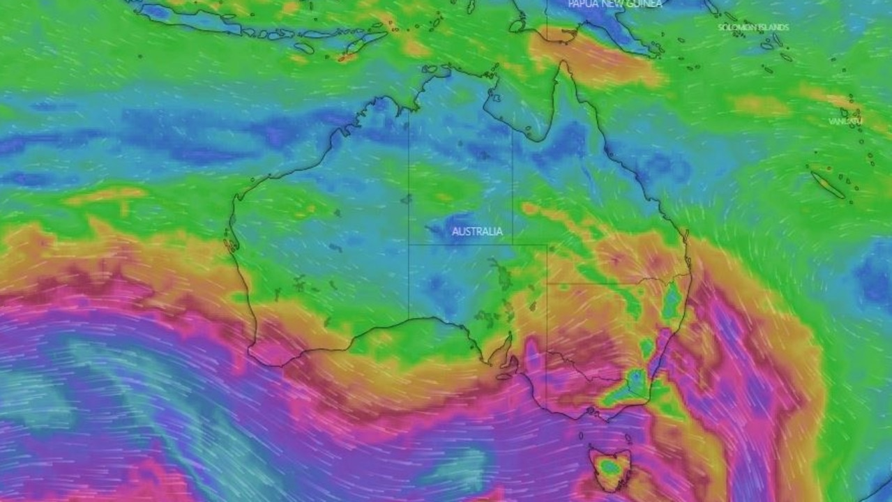 A 'never-ending cycle' of rain, wind and cold is plaguing the south of Australia. Picture: Windy