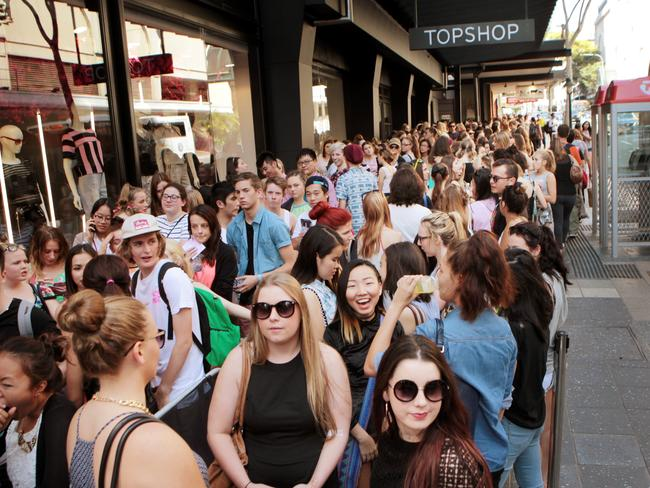 Crowds lined the pavement waiting for Sydney's first Topshop to open in 2012. Picture: Tim Marsden