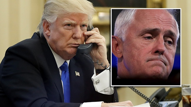Donald Trump on the phone to Malcolm Turnbull. Pic: AP