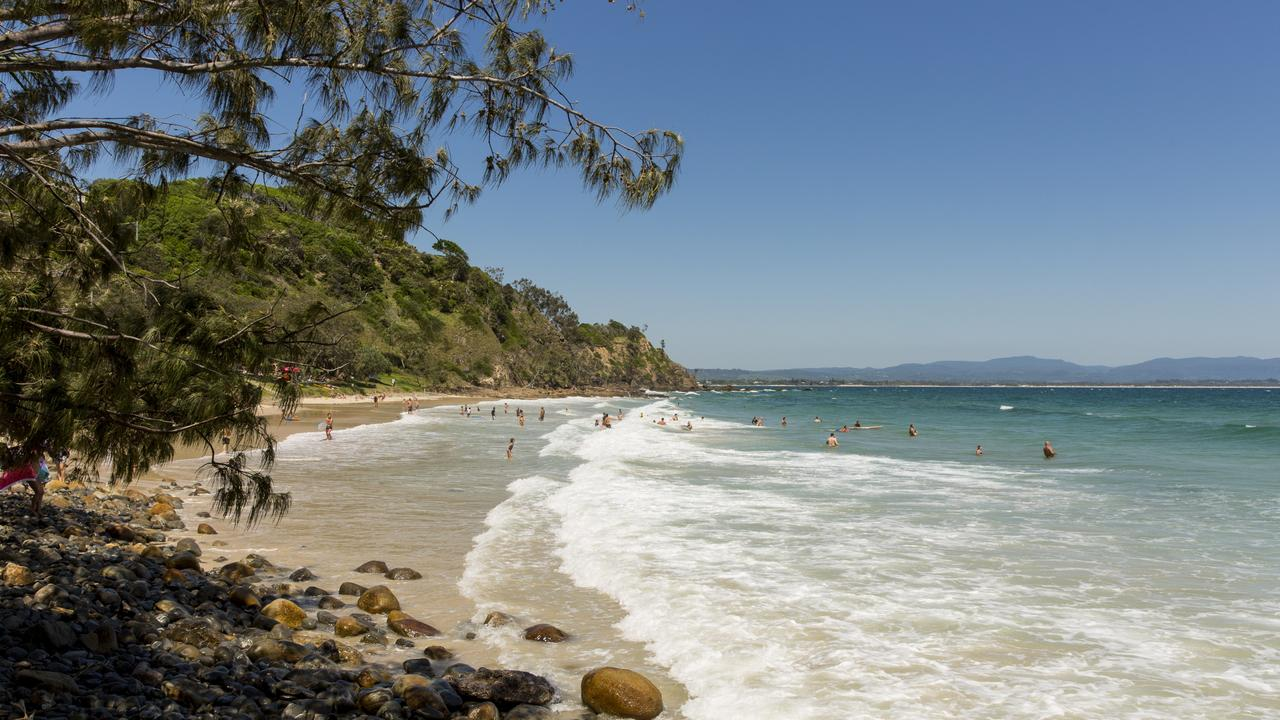 Beachgoers swimming at Wategoes Beach in Byron Bay. Picture: James Horan