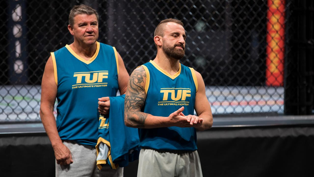 Alex Volkanovski and Joe Lopez during filming for The Ultimate Fighter