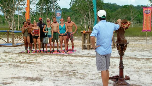 Jeff Probst addresses the remaining survivors before the start of a challenge on Survivor: Cambodia.