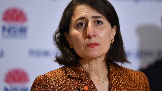 NSW Premier Gladys Berejiklian is seen during a coronavirus press conference. Picture: Getty Images