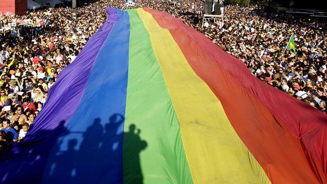 A gay pride march in Sao Paulo, Brazil.