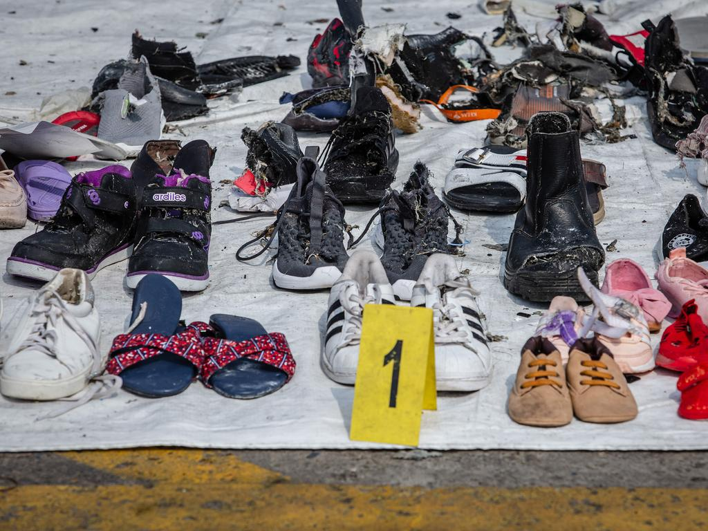 Personal items recovered from Lion Air flight JT610 by search and rescue personnel. Picture: Getty