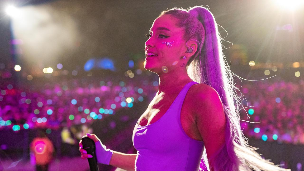 Ariana Grande was hit with a lemon at Coachella … and fans think it was a reference to Beyonce. Picture: Getty Images for Coachella