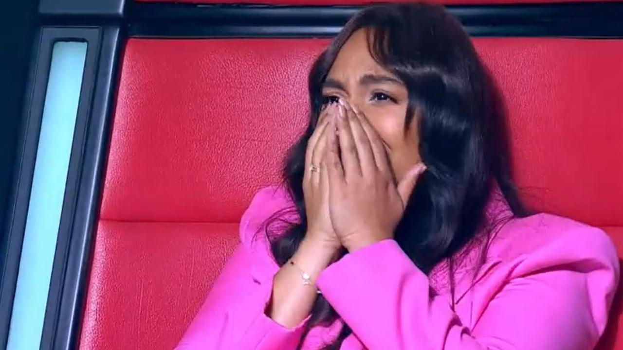 Jess couldn't contain her emotions when she saw her niece perform. Picture: Channel 7