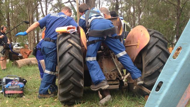A 71-year-old man suffered serious leg injuries when he became caught beneath the wheel of his tractor at a property on Sydney's north-western outskirts today. Picture: CareFlight