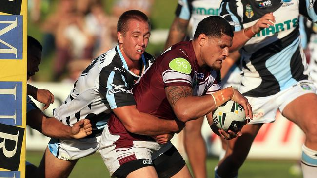 Willie Mason played his first game for Manly against the Sharks in a trial match.