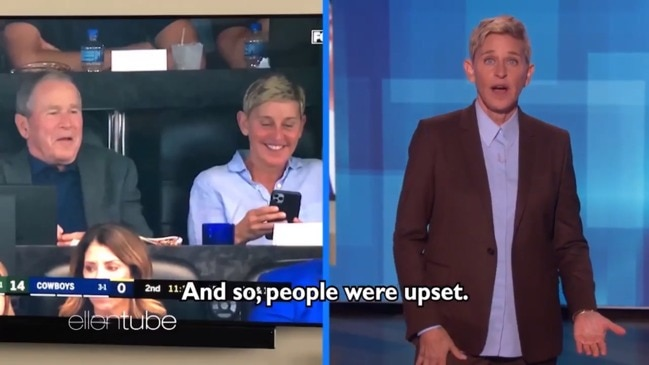 Ellen Degeneres defends sitting next to George W. Bush at the football