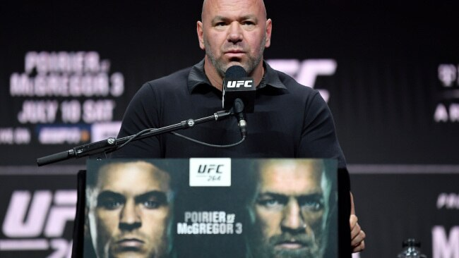 UFC president Dana White revealed Conor McGregor will not fight again for a year after his horrific broken ankle in UFC 264. Photo: Jeff Bottari/Zuffa LLC