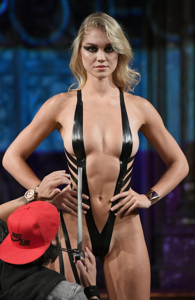 Duct tape bikinis first shocked the world when they appeared at New York Fashion Week in 2018. Picture: Arun Nevader/Getty Images
