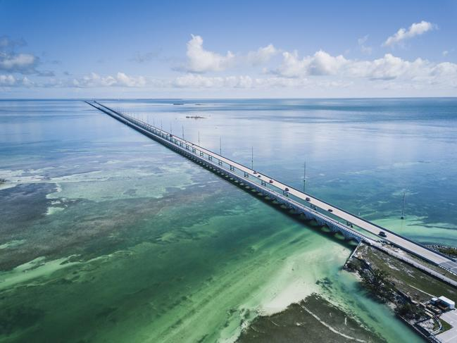 OVERSEAS HIGHWAY (FLORIDA) There are few things more calming than the sight of the ocean, and drivers on Florida's Overseas Highway are treated to just that for almost its entire 181km stretch. The above-water road starts in Miami, makes its way through the Florida Keys, passing incredible blue-and-green swirling reef and endless resorts before it finishes in Key West.