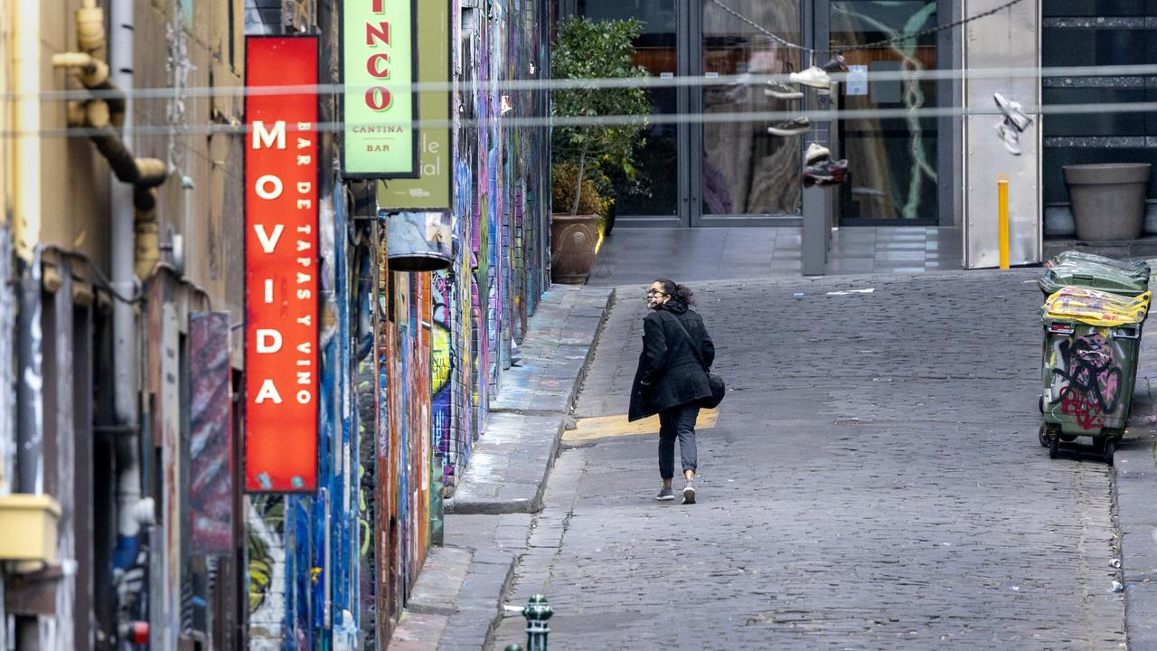 Melbourne's famous Hosier lane was deserted when this photo was taken on Monday. Picture: NCA NewsWire / David Geraghty