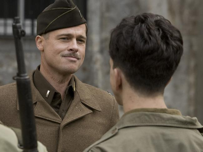 Brad Pitt in a scene from the film Inglorious Basterds. Picture: Supplied