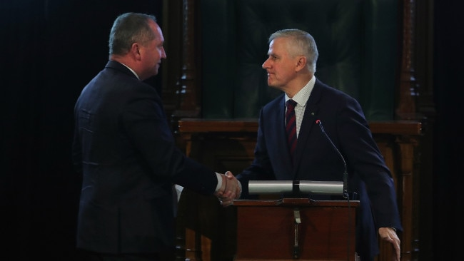 Deputy PM Barnaby Joyce thanked Michael McCormack for his performance in the role in his first speech to the Coalition party room. Picture: NCA