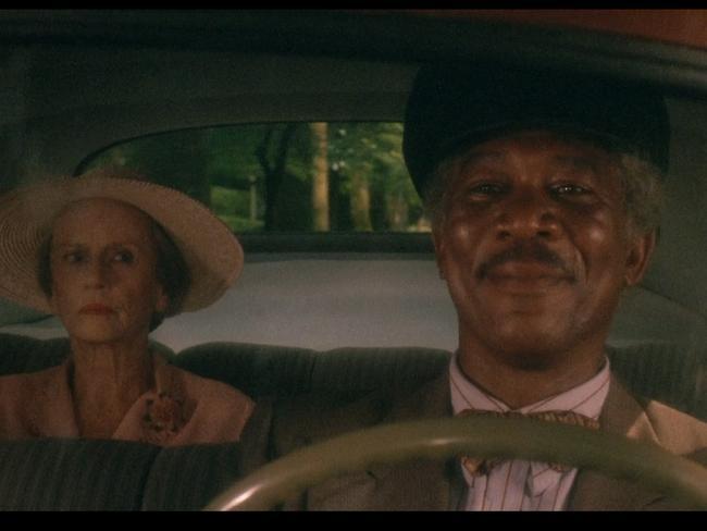 Jessica Tandy and Morgan Freeman in <i>Driving Miss Daisy</i>.