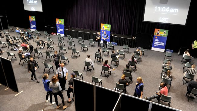 Inside the COVID-19 vaccination rollout centre while the people relax after the needle at Logan Entertainment Centre â Wembley Road, Logan Central.  Saturday June 5, 2021. Picture, John Gass