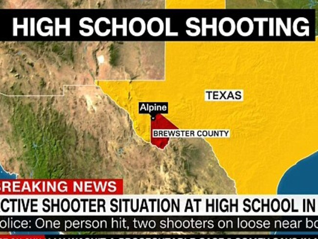 The shooting happened at Alpine High School in western Texas. Picture: CNN.